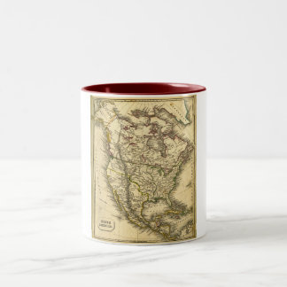 Antquie Map of North America Two-Tone Coffee Mug