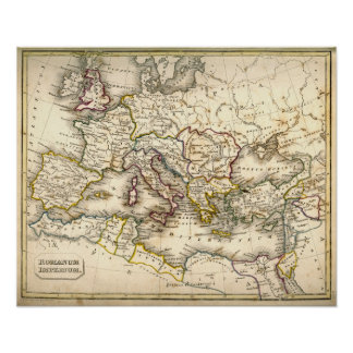 Antquie Map of the Ancient Roman Empire Poster