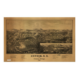 Antrim New Hampshire 1887 Antique Panoramic Map Poster