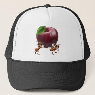 Ants carrying a big apple trucker hat