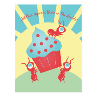Ants Carrying a Cupcake Postcard