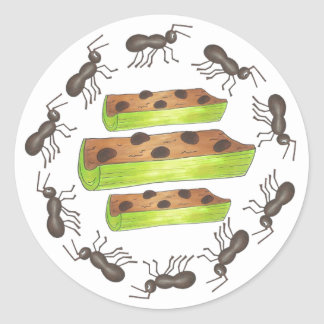 Ants on a Log Celery Peanut Butter Raisins Picnic Classic Round Sticker