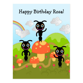 Ants wave Happy Birthday Postcard