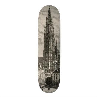 Antwerp Cathedral Spire Tower Vintage Landmark Skate Board