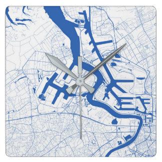 Antwerp urban Pattern Clock BLUE