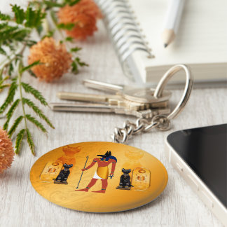 Anubis, ancient Egyptian god Basic Round Button Key Ring