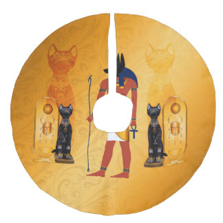 Anubis, ancient Egyptian god Faux Linen Tree Skirt