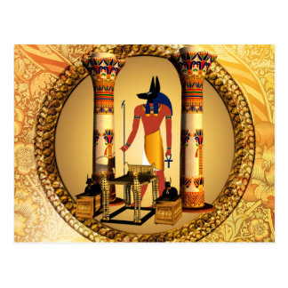 Anubis, ancient Egyptian god of the dead rituals Postcard