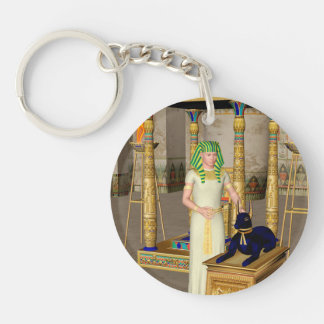 Anubis, ancient Egyptian god of the dead rituals Single-Sided Round Acrylic Key Ring