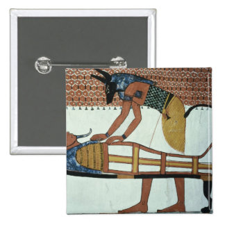 Anubis and a Mummy, from the Tomb of Sennedjem 15 Cm Square Badge
