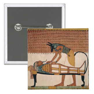 Anubis attends Sennedjem's Mummy 15 Cm Square Badge