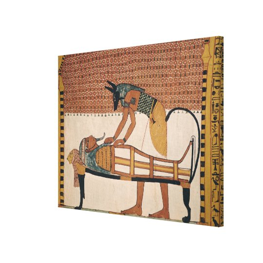 Anubis attends Sennedjem's Mummy Canvas Print