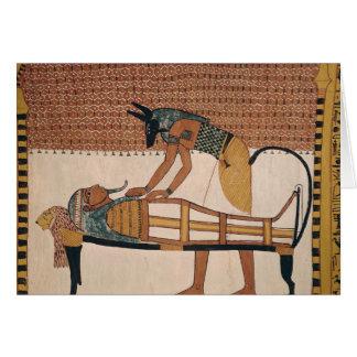 Anubis attends Sennedjem's Mummy Card