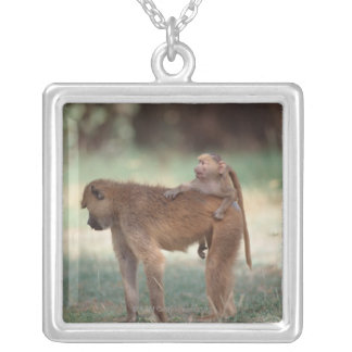 Anubis Baboon Silver Plated Necklace