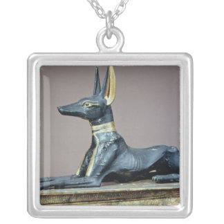 Anubis, Egyptian god of the dead from a chest Silver Plated Necklace
