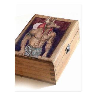 Anubis on wood www AriesArtist com Postcard