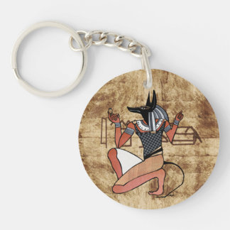 Anubis The Guardian Egyptian Double-Sided Round Acrylic Keychain