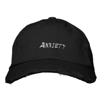 Anxiety Black Distressed Baseball Cap