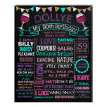 ANY AGE Adult 90th birthday party chalkboard Poster