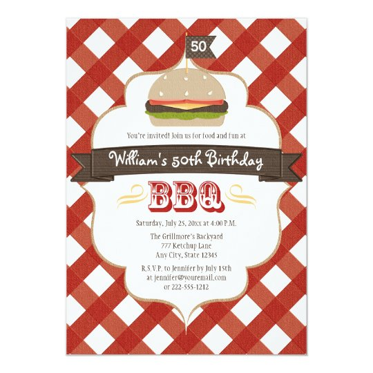 ANY AGE BBQ BIRTHDAY PARTY CARD
