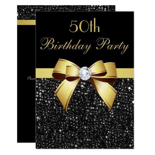 Any Age Birthday Faux Sequins Bow Black Gold