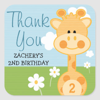 Any Age Birthday Giraffe Thank You Stickers