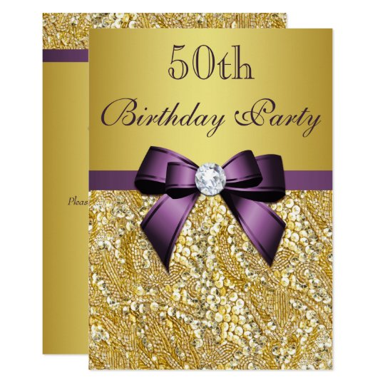 Any Age Birthday Gold Faux Sequins Purple Bow