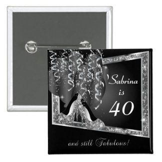 Any Age Birthday in Black & Silver Glitter 15 Cm Square Badge