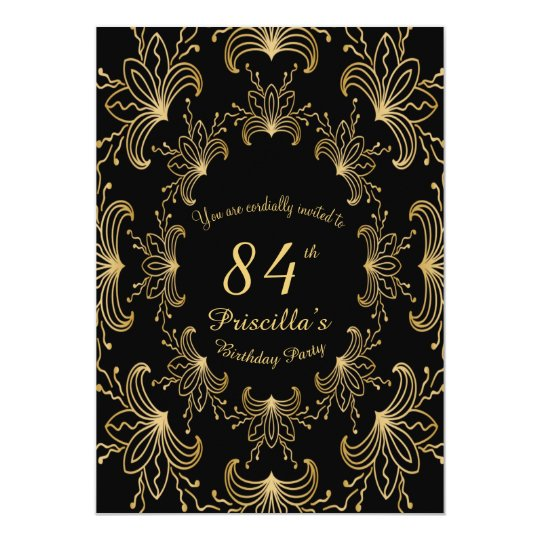 Any Age, Birthday Party,Art Deco,Flower,gold,black Card