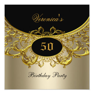 Any Age Birthday Party Elegant Black Gold Coffee 5.25x5.25 Square Paper Invitation Card