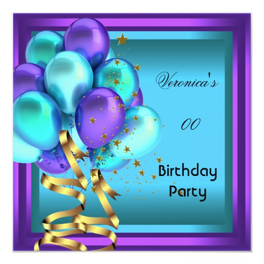 Any Age Birthday Party Purple Teal Balloons Card