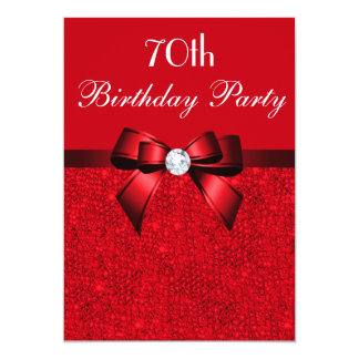 Any Age Birthday Party Red Faux Sequins Red Bow Card