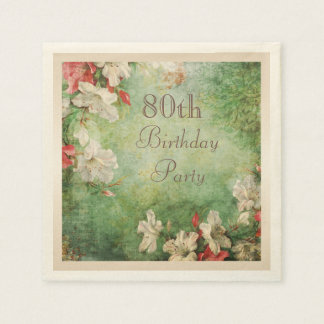 Any Age Birthday Party Shabby Chic Hibiscus Disposable Napkins