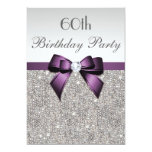 Any Age Birthday Party Silver Sequins Violet Bow 13 Cm X 18 Cm Invitation Card