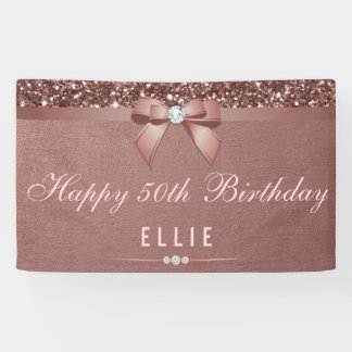 Any Age Birthday Rose Gold Diamond Bow Glitter Banner