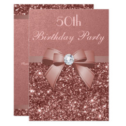50th birthday invitations announcements zazzle uk any age birthday rose gold glitter diamond bow card filmwisefo Gallery