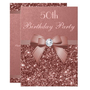 Birthday invitations announcements zazzle uk any age birthday rose gold glitter diamond bow card filmwisefo Choice Image