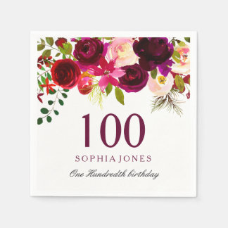 Any Age Burgundy Floral Boho 100th Birthday Party Disposable Napkin