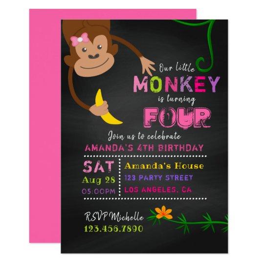 Any age chalkboard little monkey girl birthday invitation zazzle any age chalkboard little monkey girl birthday invitation filmwisefo