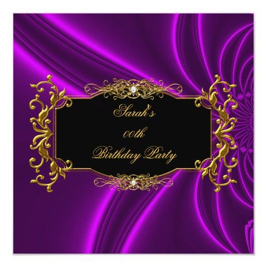 Any Age Elegant Birthday Party Black Gold Purple