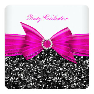 Any Age Luxury Glitter Hot Pink Bow Black White Card