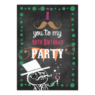 ANY AGE Moustache Chalkboard Birthday Party Invite