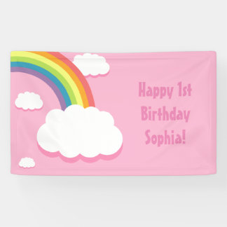 Any Age Pink Rainbow Cloud Birthday Banner