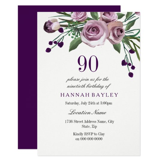 Any Age Purple Plum Rose 90th Birthday Invitation Zazzlecouk