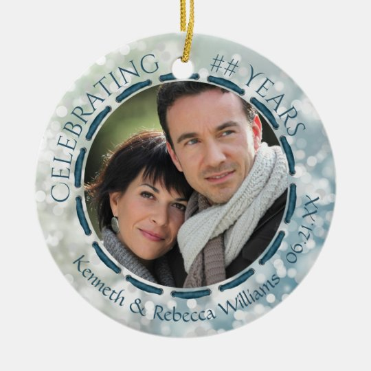 Any Anniversary, 2-Sided 2-Photo Teal/Blue/White Christmas Ornament