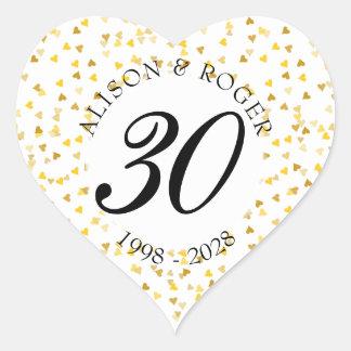 Any Anniversary Gold Hearts Confetti Heart Sticker