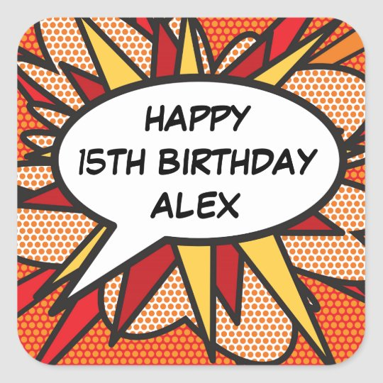 Any Birthday Personalised Comic Book Pop Art Square