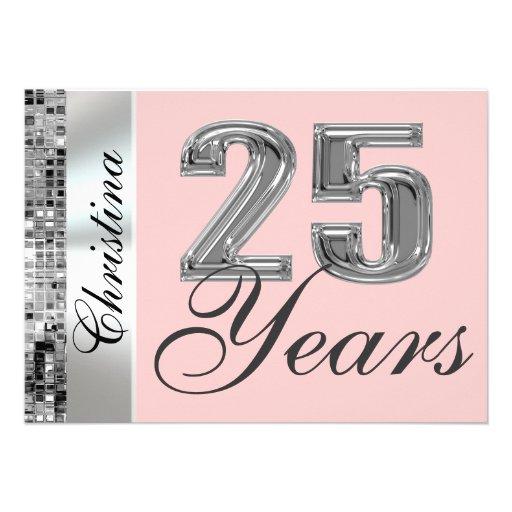 Any Color & 25 Years Birthday Party Invitation