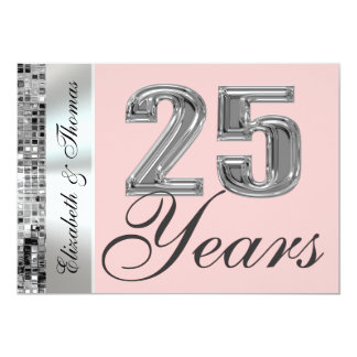 Any Color & 25 Years Silver Anniversary Invitation