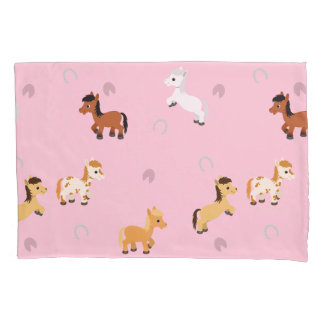 Any Color Background Cute Horse and Pony Pattern Pillowcase